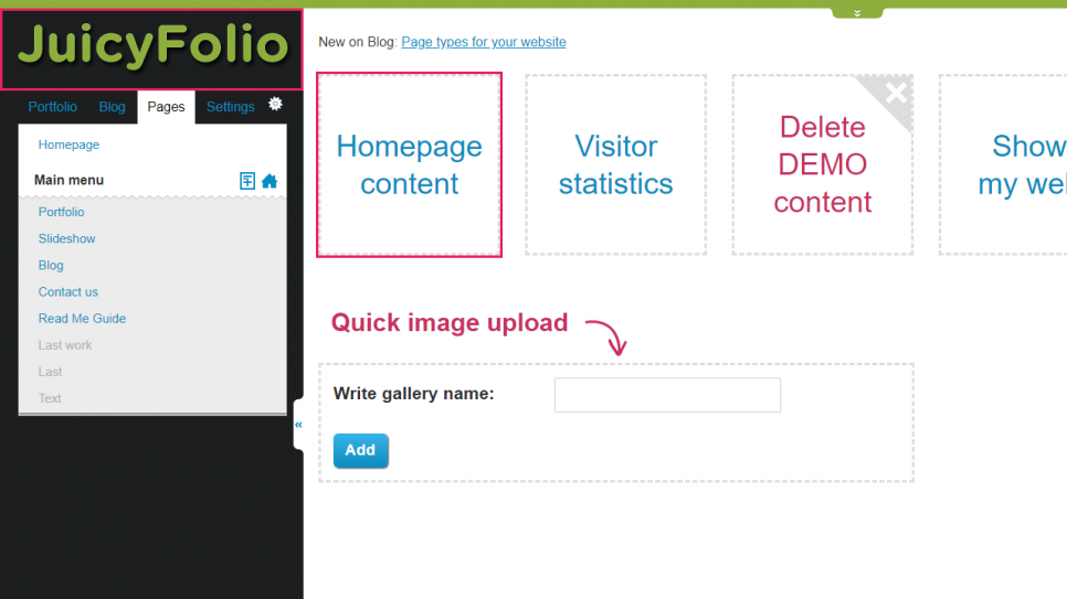 Setting up slideshow for your homepage