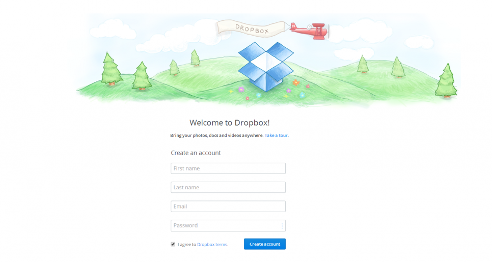 Sign up to Dropbox