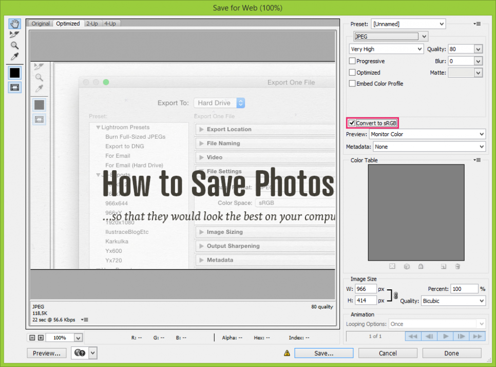 Saving Your Image for Web in Adobe Photoshop