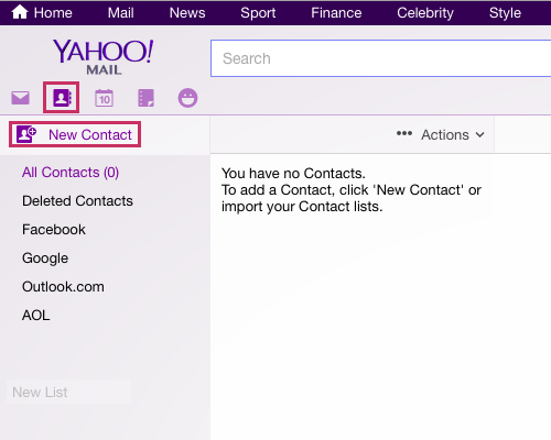 Adding contact to Yahoo