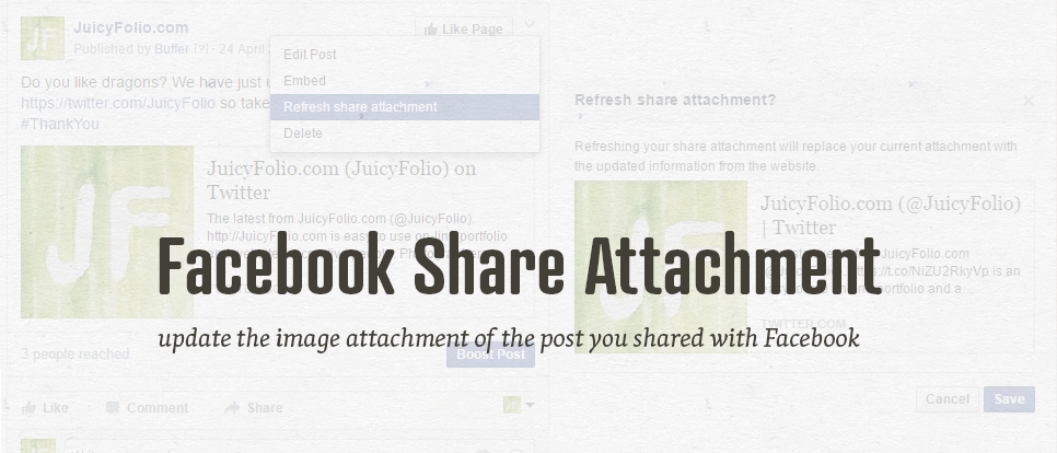 How to refresh attachment of your post shared on Facebook